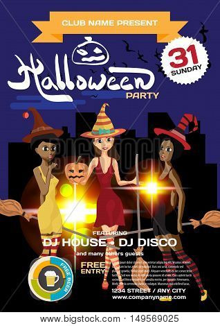 Vector helloween party invitation disco style. Three girls in the witch costume on the background of the city at night. Template posters or flyers