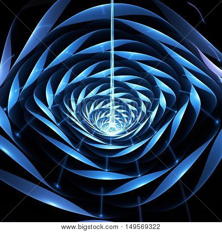 Abstract shining 3d flower on black background. Fantasy fractal design in bright blue and white colors.