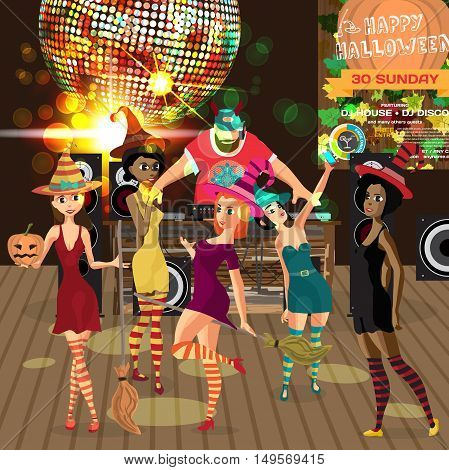Vector Halloween party invitation disco style. Club dj with sound system crowd women in dress of witches. Vector template party poster invitations or flyers.