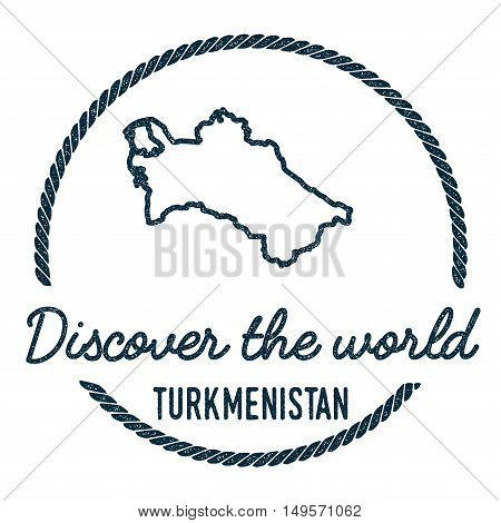 Turkmenistan Map Outline. Vintage Discover The World Rubber Stamp With Turkmenistan Map. Hipster Sty