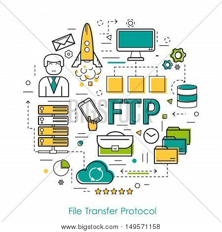 Vector Round Concept of File Transfer Protocol - FTP. Line Art Infographic on white background