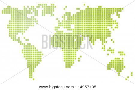 Map of the world illustration, mosaic block style