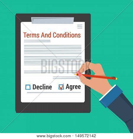 Vector concept contract and agreement. Hand making sign AGREE in document Terms and conditions. Check box DECLINE is empty. On green background in flat style