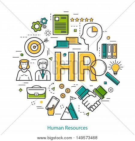 Vector Round Concept of Human Resource - HR. Line Art Infographic on white background