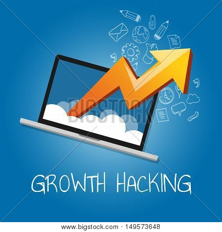 growth hacking ways how business technology company strategy to improve user and revenue number vecto