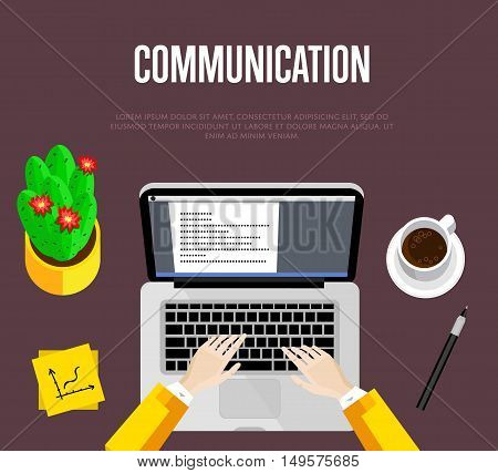 Communication concept. Top view office workspace, vector illustration. Overhead view of businessman working on laptop at office desk. Office workplace background with space for text.