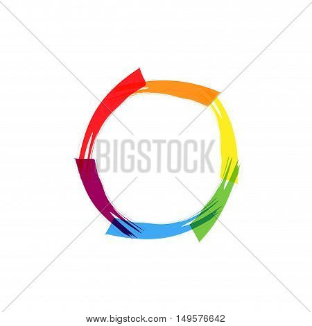 Abstract sign circle scrawled, isolated in white