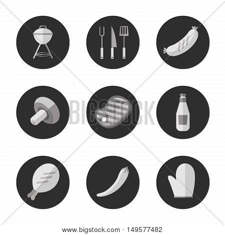 BBQ vector illustration. Barbecue grill black and white round icons set. Barbecue grill, tools, meat and vegetables signs on black background. Design elements for grill menu. BBQ grill icons. Bbq kettle icon.
