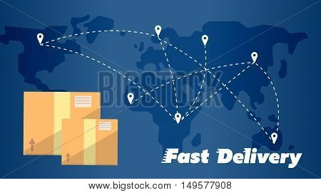 Closed cardboard boxes on background of world map with routes. Fast delivery banner, vector illustration. Worldwide shipping and moving service. International postage concept. Global logistics
