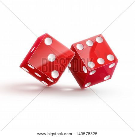 Illustartion of casino rulette red dice cube isolated on white