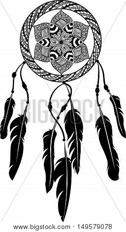Drawing of a floral mandala in ethnic tribal stile with dreamcatcher, feathers, black line art on white background. Hand drawn vector stock illustration