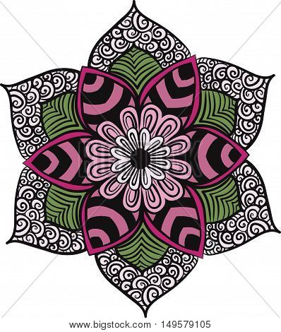 Drawing of a floral mandala in pink and green colors on a gray background. Hand drawn tribal  vector stock illustration