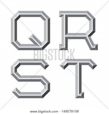 Q R S T gray faceted letters. Prismatic retro font.