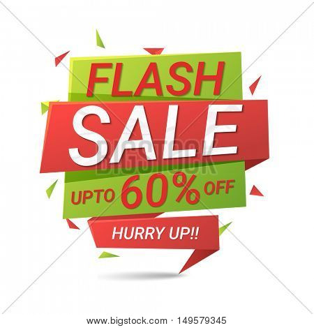 Flash Sale Upto 60% Off, Creative Paper Tag or Banner design, Useable for Poster, Flyer, Pamphet etc.
