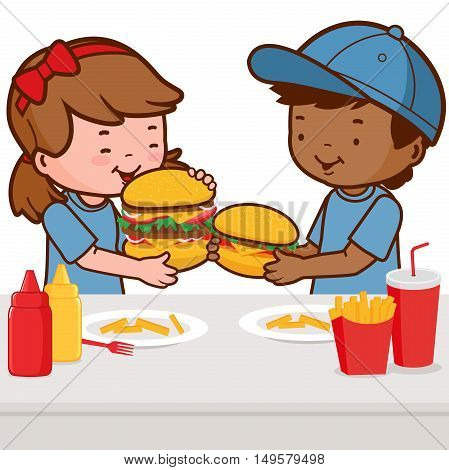 Two children, a girl and a boy enjoy their fast food meal, eating hamburgers, fries, and drinking soda.