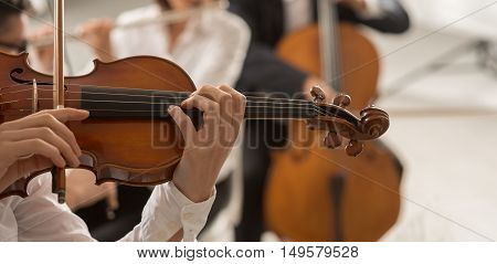 Classical music symphony orchestra string section performing female violinist playing on foreground hands close up