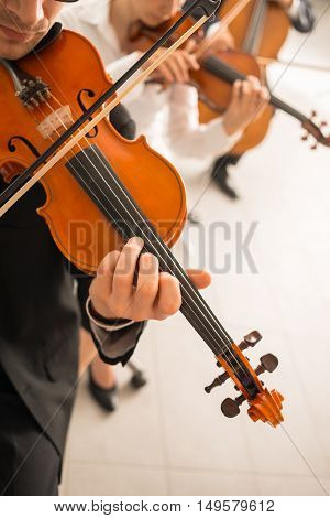 Professional violinists performing male player on foreground blank copy space on the right
