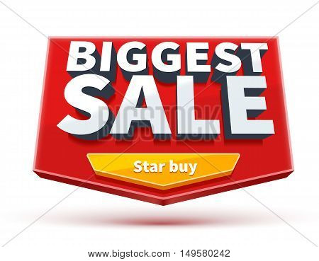 biggest sale banner with button eps 10 isolated on white place for text