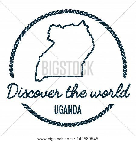Uganda Map Outline. Vintage Discover The World Rubber Stamp With Uganda Map. Hipster Style Nautical