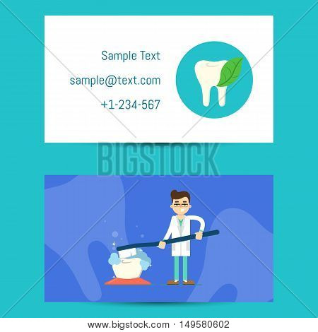Professional business card vector photo bigstock professional business card template for dentists with cartoon man in medical uniform and dentist equipment reheart Gallery