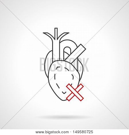 Abstract symbol of heart with crossed sign. Cardiovascular disease caused with smoking and other bad habits. Black and red flat line vector icon.