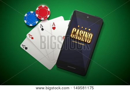 vector illustration of casino chips and mobile isolated on green background