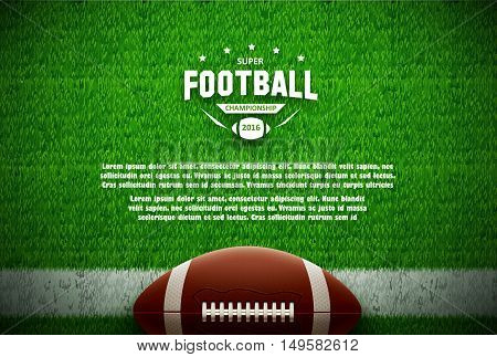illustration of american football top view on green field