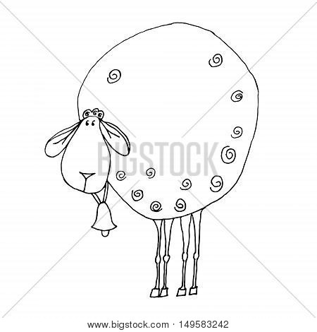 Cute raster illustration with uncolored sheep on white background