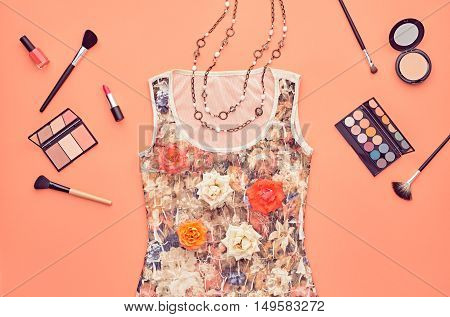 Fashion woman Clothes Accessories Set. Fashion Cosmetic Makeup. Stylish Dress Glamor fashion Glamor Heels, Rose. Fashion Design Party Outfit. Top view. Creative Cosmetic Overhead. Essentials.Minimal