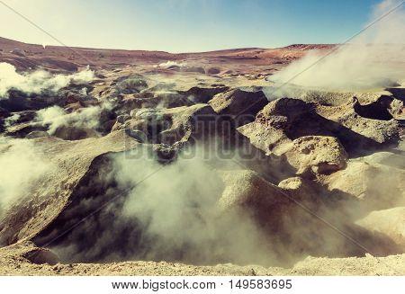 Fantastic Southamerican  landscapes.Deserts,volcanoes,geysers. Geyser Sol de Manana, Bolivia.