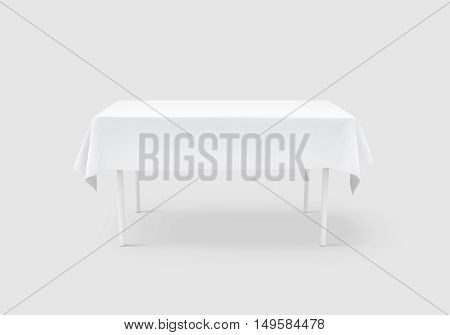 Bank white table cloth mock up clipping path 3d rendering. Clear tablecloth design mockup isolated. Fabric space satin on desk template. Kitchen table clean textile overlay. Setting cafe table.