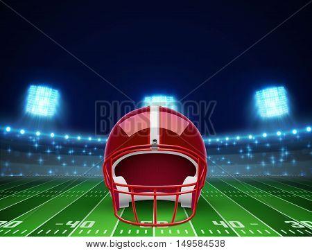 illustration of helmet  and american football field eps 10