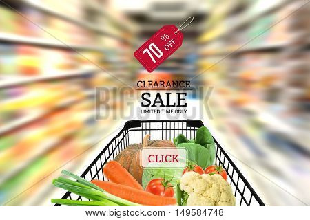 Shopping cart full with fruit vegetable food in supermarket. concept sale clearance in supermarket