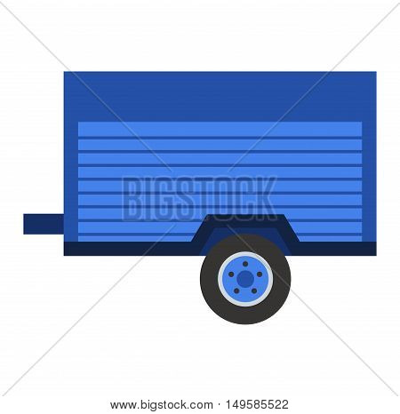 Empty car trailer isolated on white. Transportation car vehicle isolated car trailer vector. Truck cart view equipment wheel car trailer outdoors delivery small steel trailer vector.