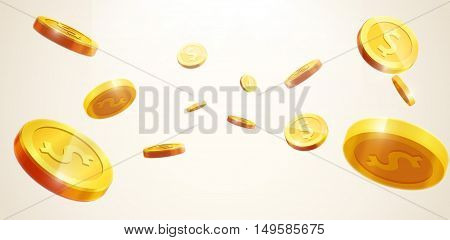 vector illustration of gold coins falling 3d realistic vector coin icon with shadows isolated on white eps 10