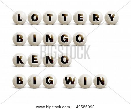 vector illustration of lottery balls with place for text bingo keno big win set isolated on white