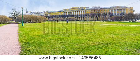 The green lawn in Field of Mars that was the parade ground for troop inspections and nowadays became memorial area in the city center St Petersburg Russia.