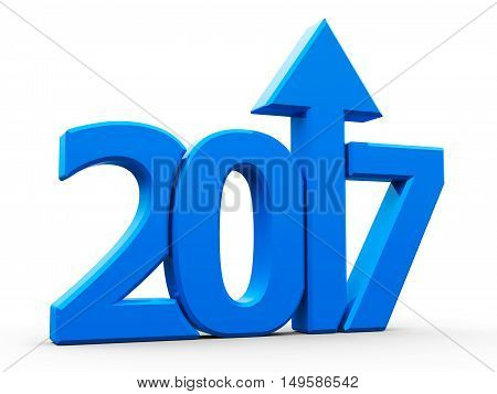 Blue 2017 with arrow up isolated on white background represents growth in the new year 2017 three-dimensional rendering 3D illustration