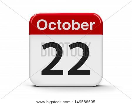 Calendar web button - The Twenty Second of October - International Stuttering Awareness Day three-dimensional rendering 3D illustration
