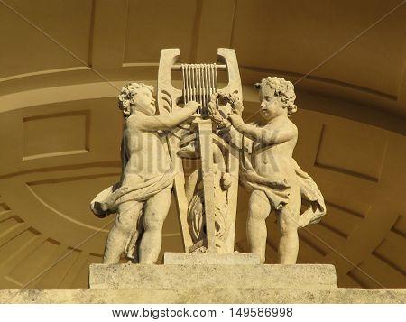Lednice - Valtice Czech Republic - September 29 2011: Statue at Apollo Temple in Lednice Valtice complex South Moravia