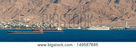 Panoramic view on Aqaba marine port, Jordan