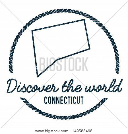Connecticut Map Outline. Vintage Discover The World Rubber Stamp With Connecticut Map. Hipster Style