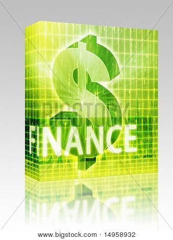 Software package box Finance illustration, dollar symbol over financial design