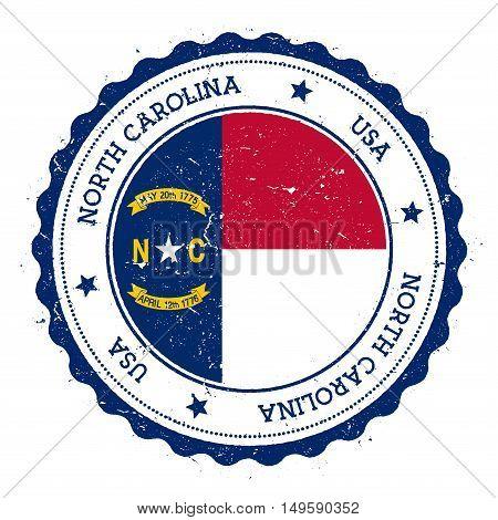 North Carolina Flag Badge. Grunge Rubber Stamp With North Carolina Flag. Vintage Travel Stamp With C