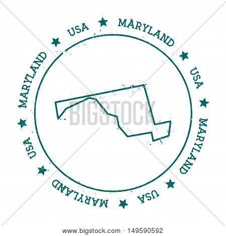 Maryland Vector Map. Retro Vintage Insignia With Us State Map. Distressed Visa Stamp With Maryland T