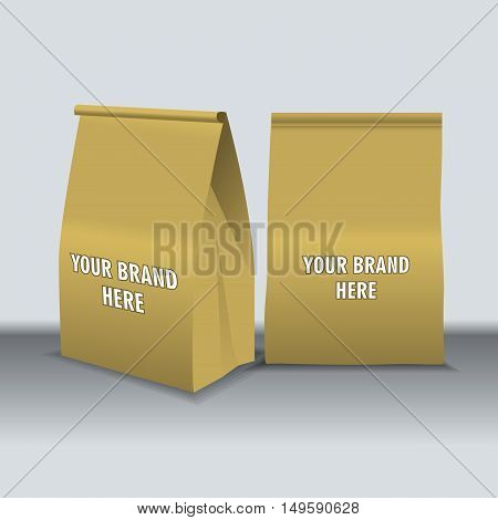 Digital vector recycle brown paper food bags mockup, ready for your logo and design, flat style