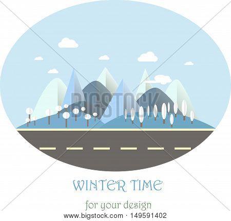 Mountain landscape with road in winter time. Modern flat design, design element, vector illustration