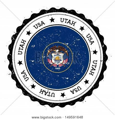 Utah Flag Badge. Grunge Rubber Stamp With Utah Flag. Vintage Travel Stamp With Circular Text, Stars