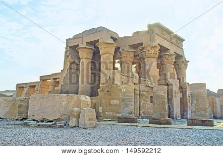 The archaeological site of unique Kom Ombo Temple divided into two equal parts dedicated to gods Sobek and Horus Egypt.