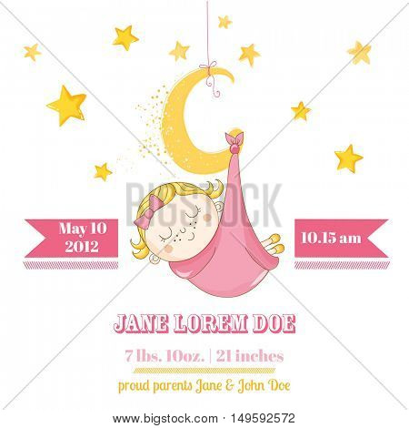 Baby Girl Sleeping on a Moon - Baby Shower or Arrival Card - in vector
